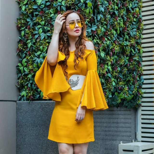 So obsessed with this mustard yellow bell sleeve dress fromhellip