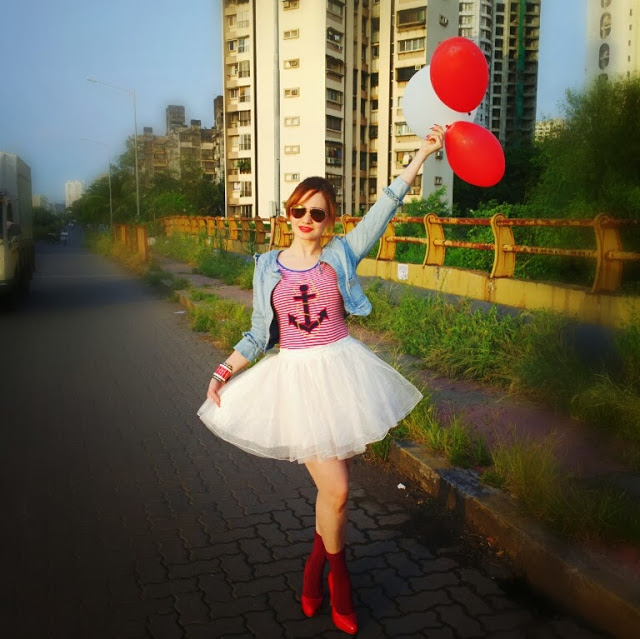 Red Nautical T Shirt, Denim Jacket , Tutu Skirt 4