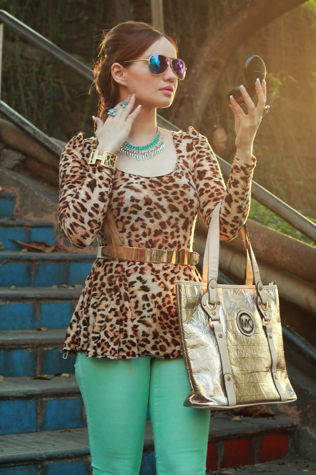 Leopard Print Peplum Top & Mint Green Jeans 1