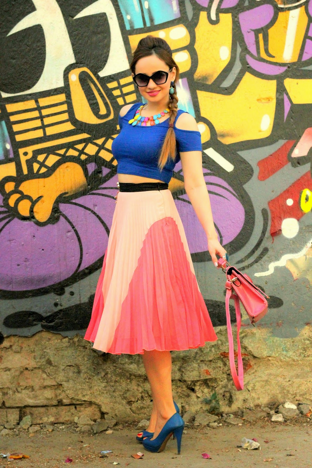 Blue Crop Top & Pink Pleated Midi Skirt 8