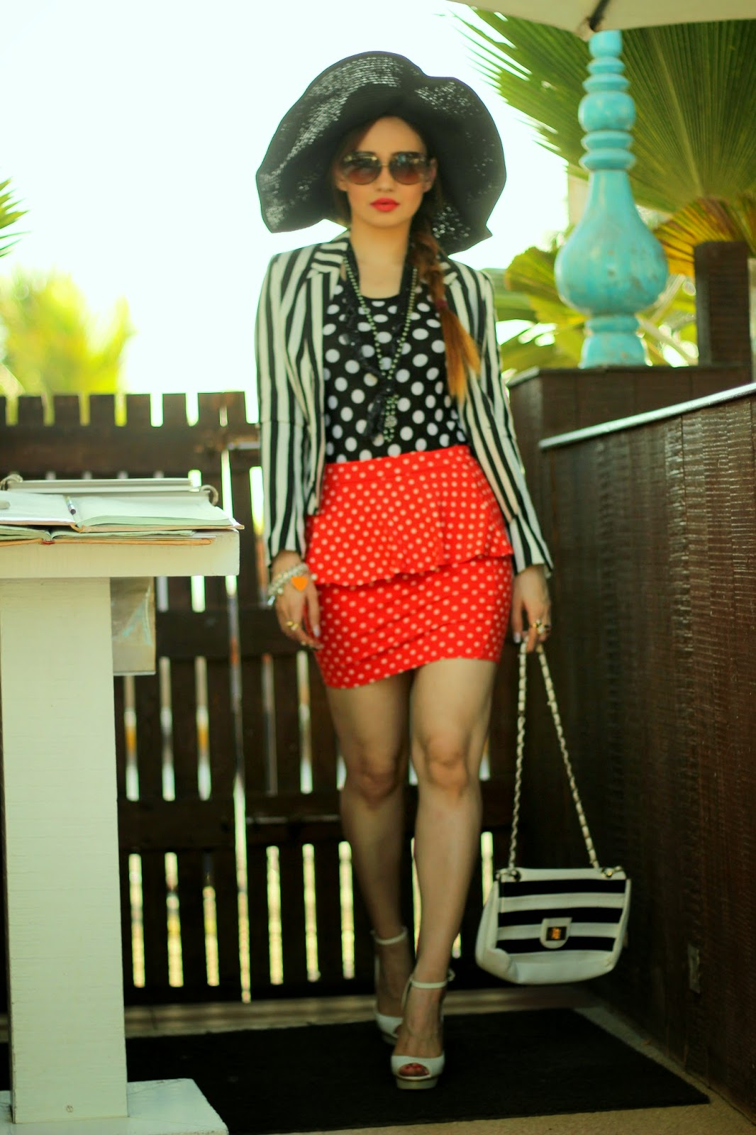 Stripe Blazer & Polka Dotted Skirt