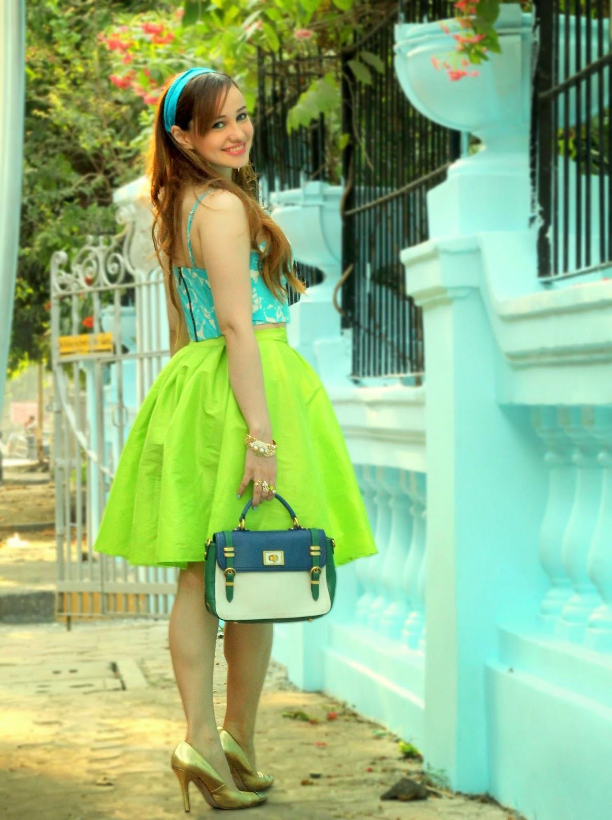 Blue Floral Bralet & Green Flare Midi Skirt