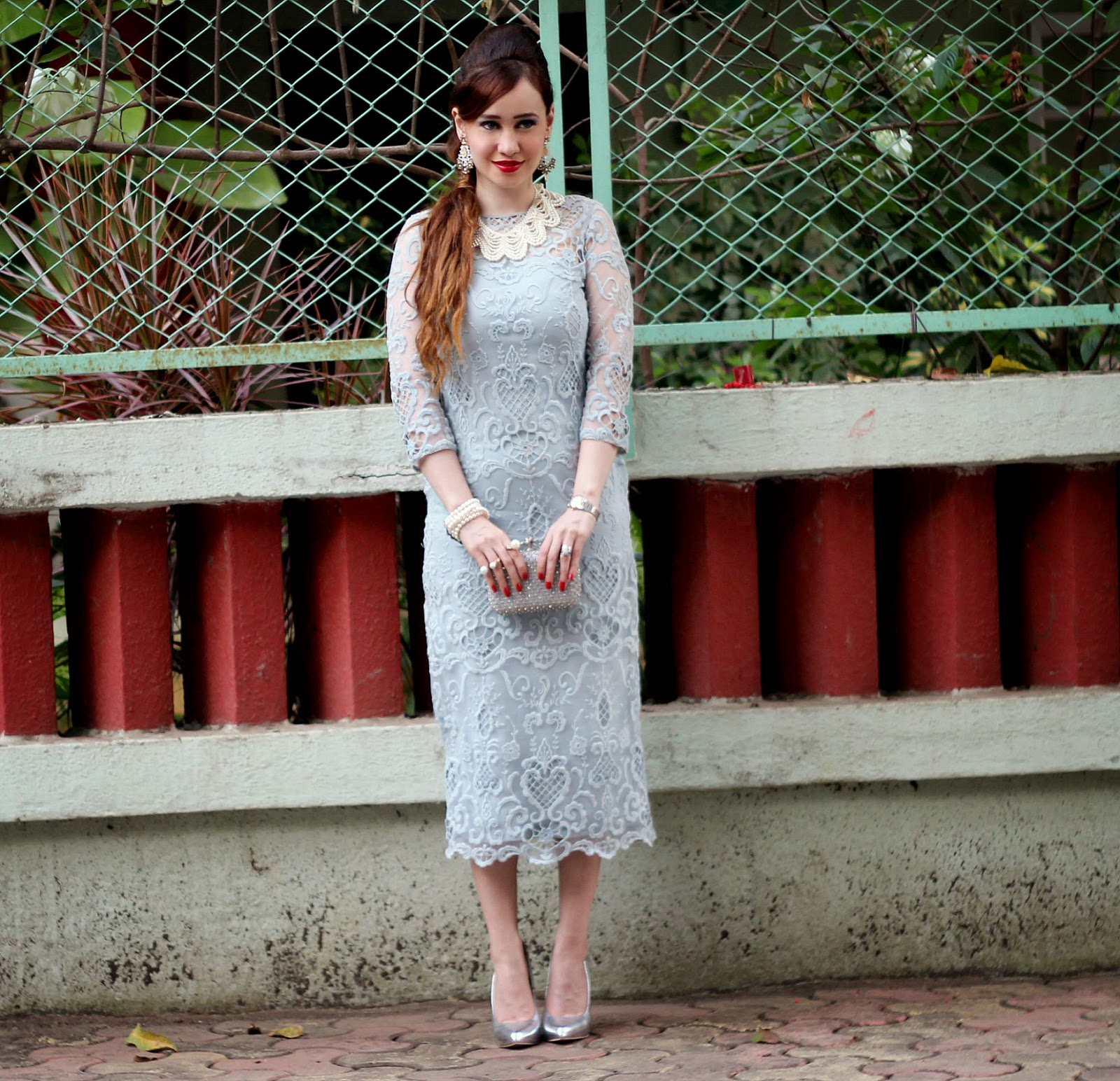 Grey Lace & Sheer Dress 1