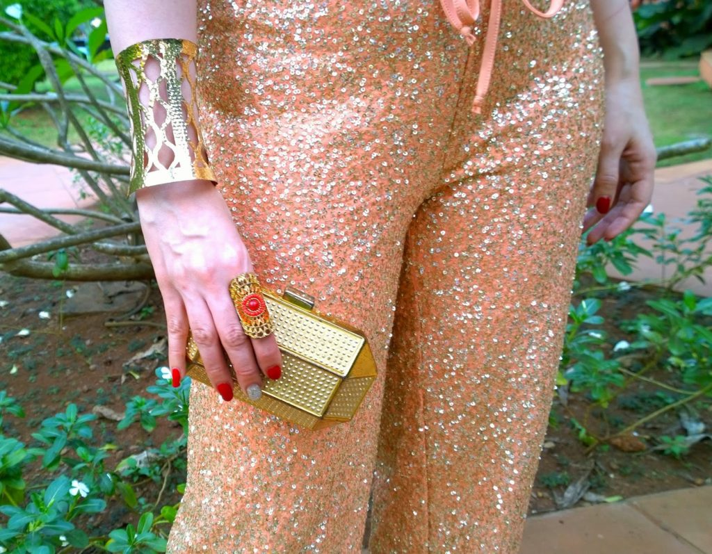 Gold Cuff Bracelet, Gold Ring, Gold Box Clutch, sequin track-pants