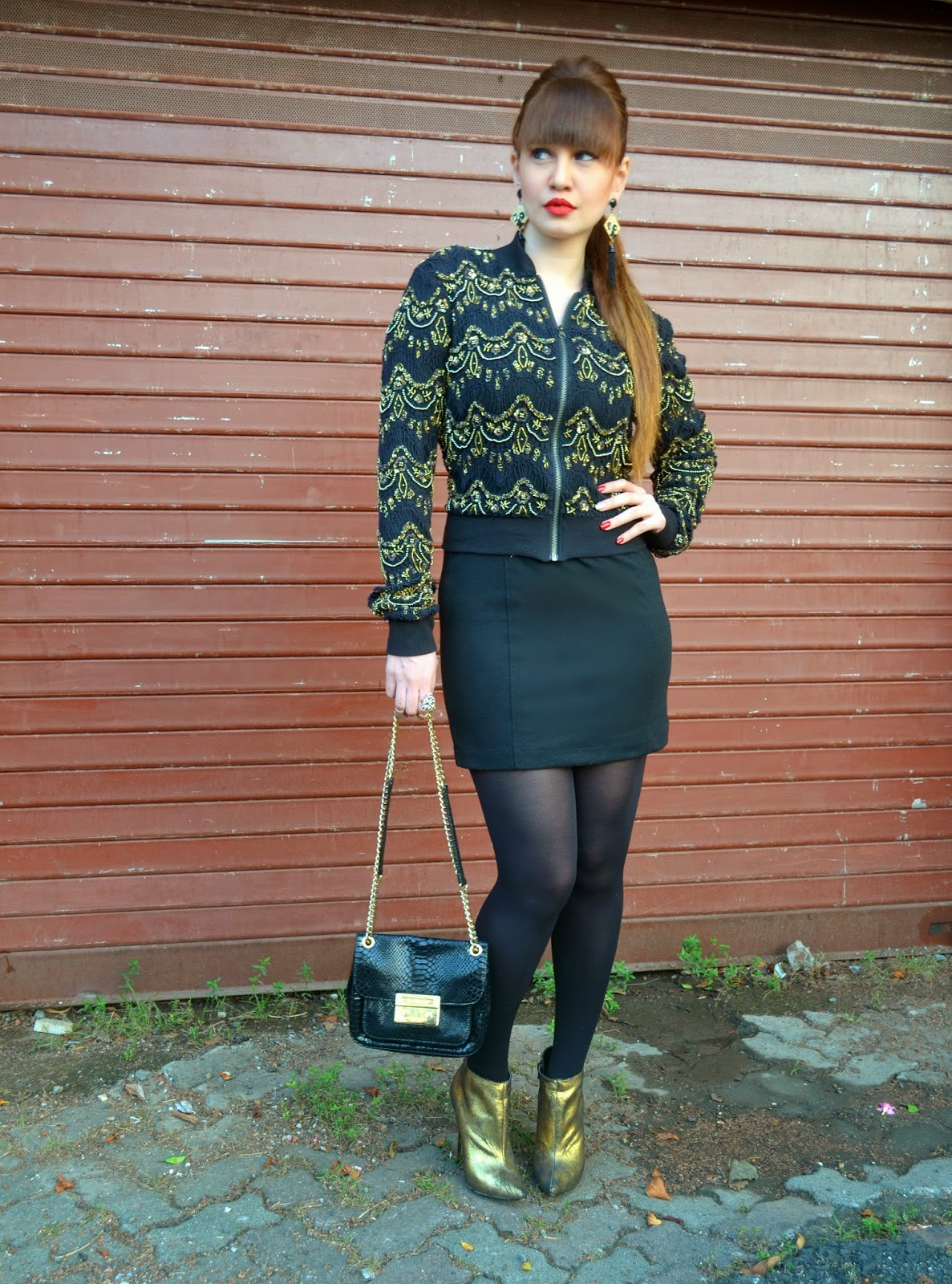 Baroque Bomber Jacket over an LBD