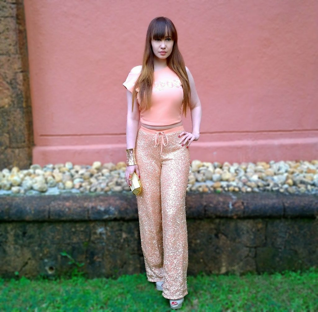 Sports Luxe ,peach tank top & sequin track-pants