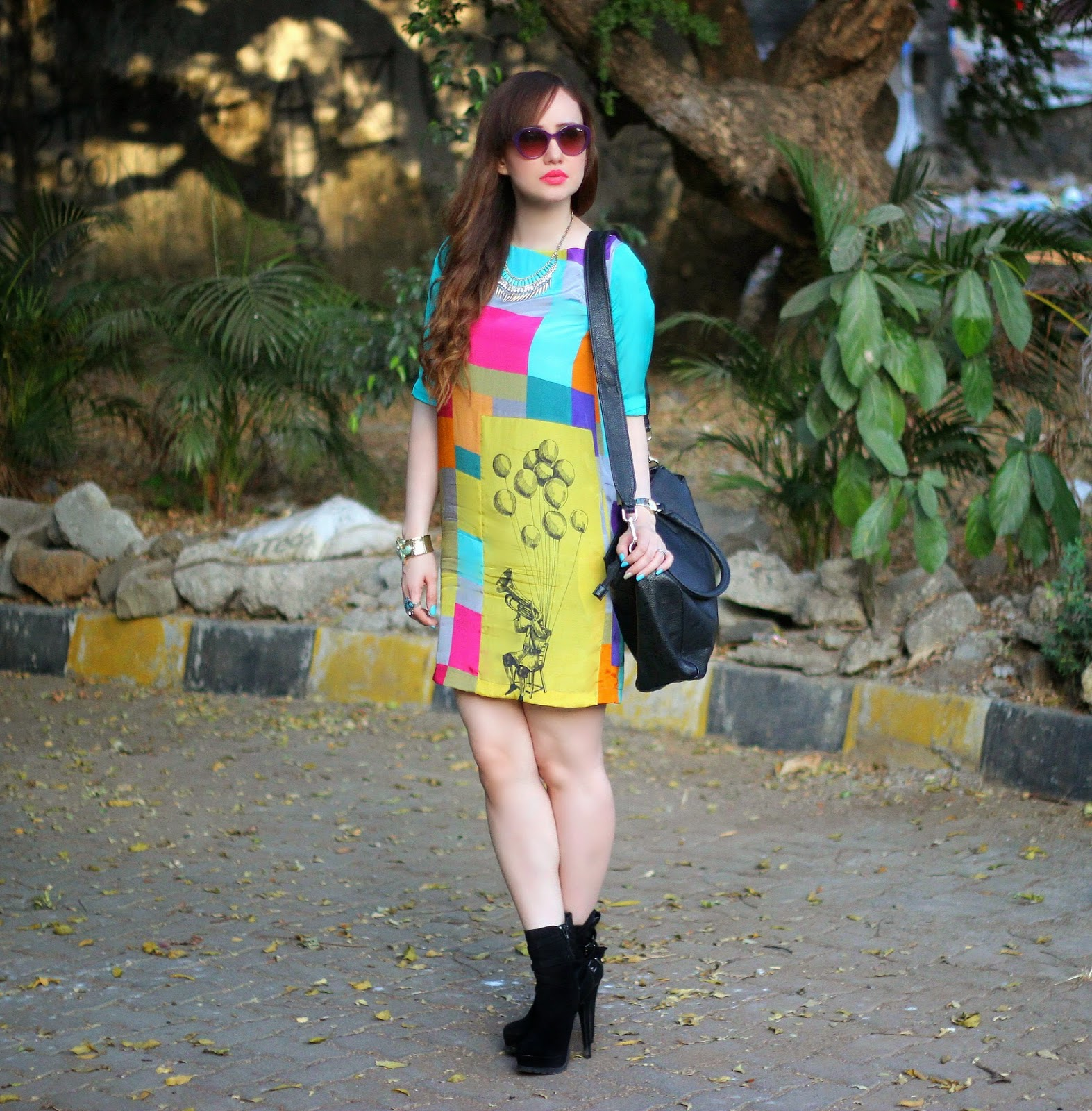 QuirkBox, shift dress, prints, printed dress, boots