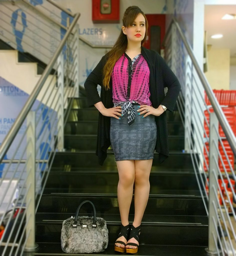 Reliance Trends Tie & Dye Shirt,Cardigan & Pencil Skirt