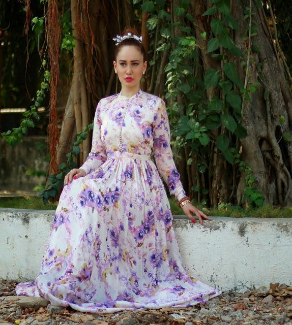 Floral vintage maxi dress