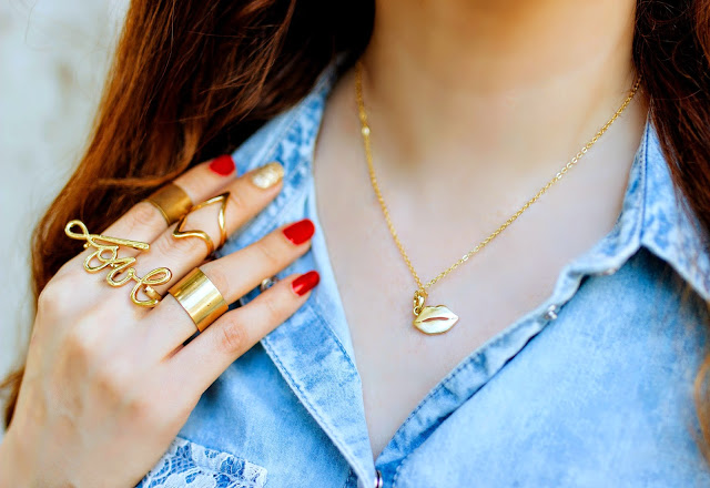 Midi-rings, Love double-finger Ring, Lips pendant & necklace