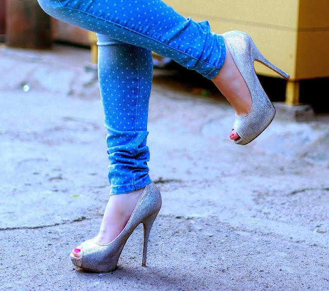 Silver glitter peep-toe heels