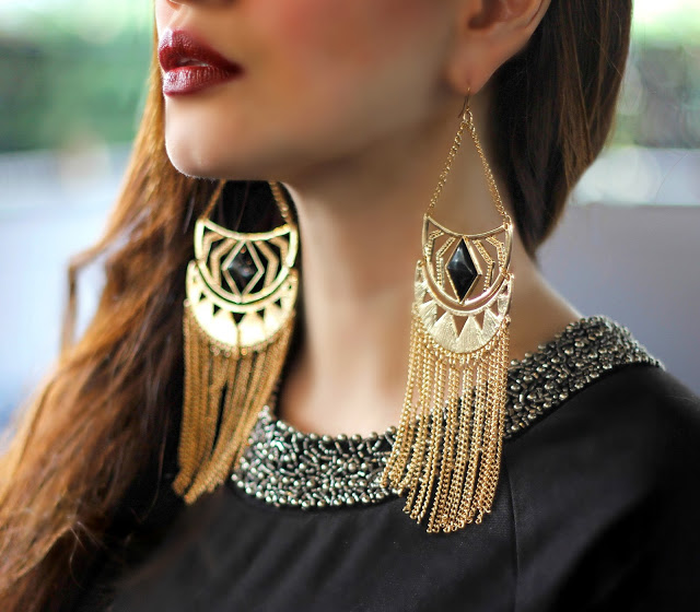 Long Gold Tassel Statement Earrings, Embellished Collar, LBD ,Charlotte Russe