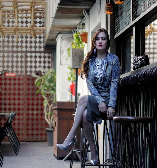 Vero Moda 2016 Collection,Jacquard Jacket, Silver Jacquard Top, Lily Allen , Asymmetrical Skirt