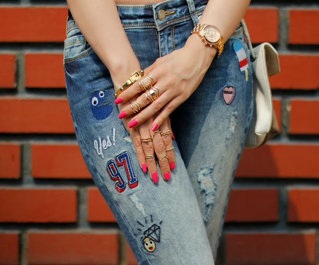 Forever 21 Rings, Midi-rings,ONLY Distressed Patch-work Jeans