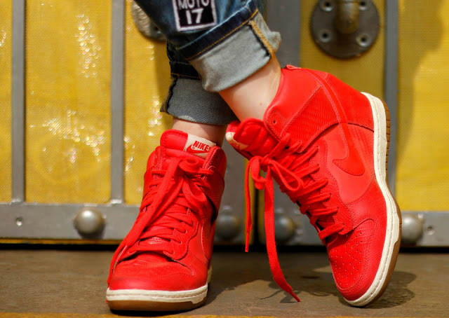 Red Nike Sky Dunk Hi, Sneakers, Nike, High-tops