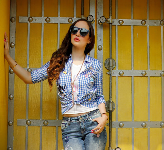 ONLY Knotted Up Check Shirt, Distressed Patch-work Jeans, Casual Chic Look