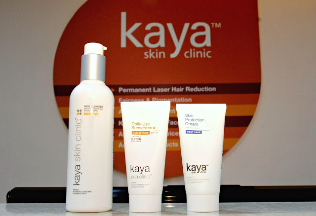 Laser Hair Removal at Kaya Skin Clinic, Post Care Creams for laser hair removal, Facial Cleanser, Sunscreen, Skin Protection Cream