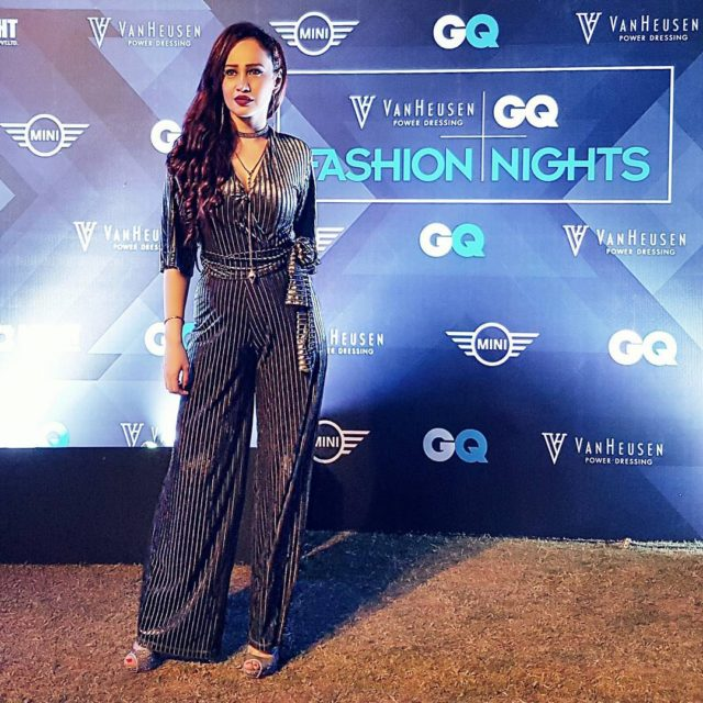 Last night gqindia FashionNights Going Glam in this Velvet Jumpsuithellip