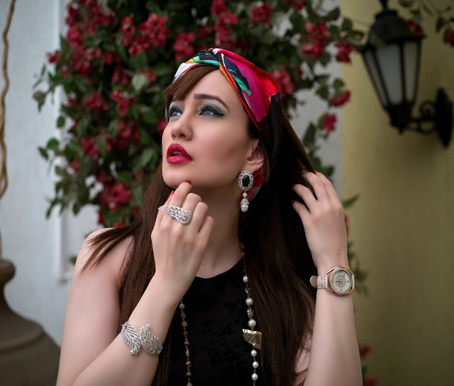 Shazé Accessories, Jewelry, Head Scarf, beaded necklace, leaf bangle, pearl drop earrings, LBD, eagle wing ring, White & Rose Gold Watch