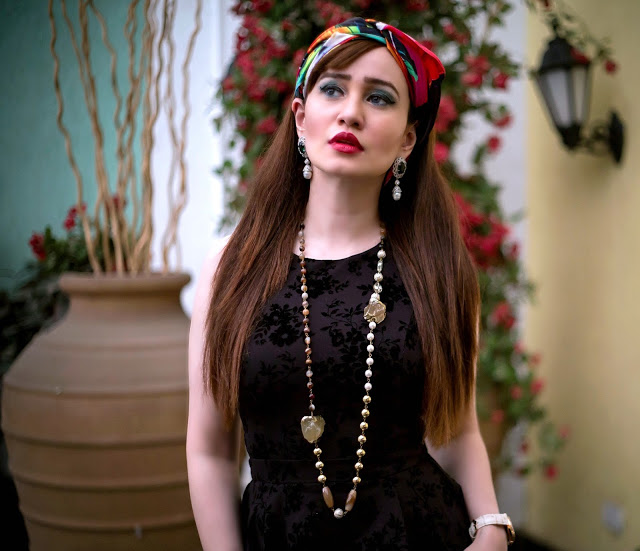 Shazé Accessories, Jewelry, Head Scarf, beaded necklace, pearl drop earrings, LBD,