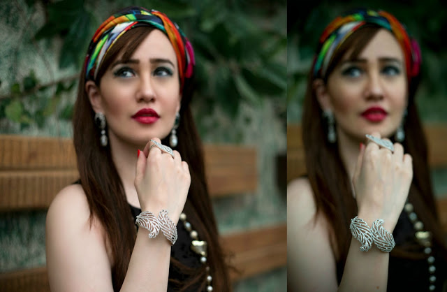 Shazé Accessories, Jewelry, Head Scarf, beaded necklace, leaf bangle, pearl drop earrings