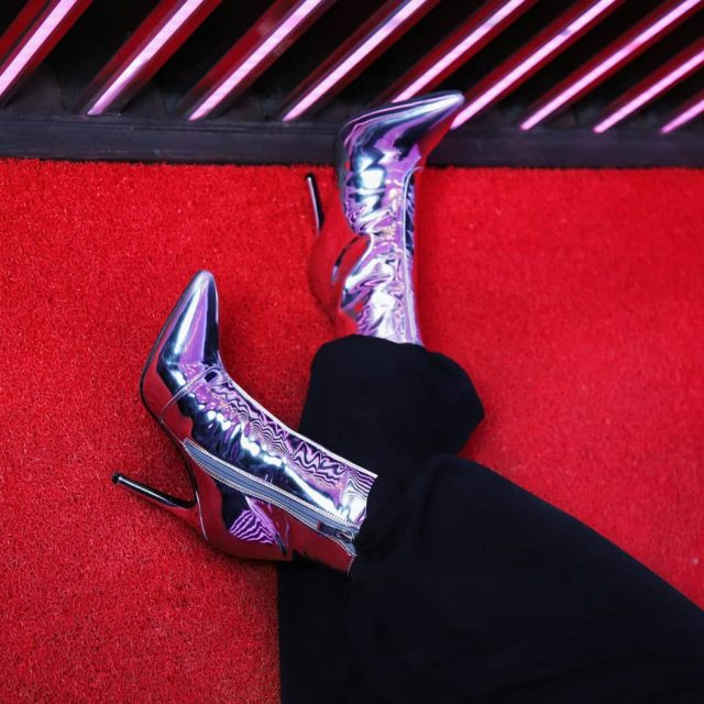 LikeABoss in my rad metallic booties    feistyfoxdiarieshellip