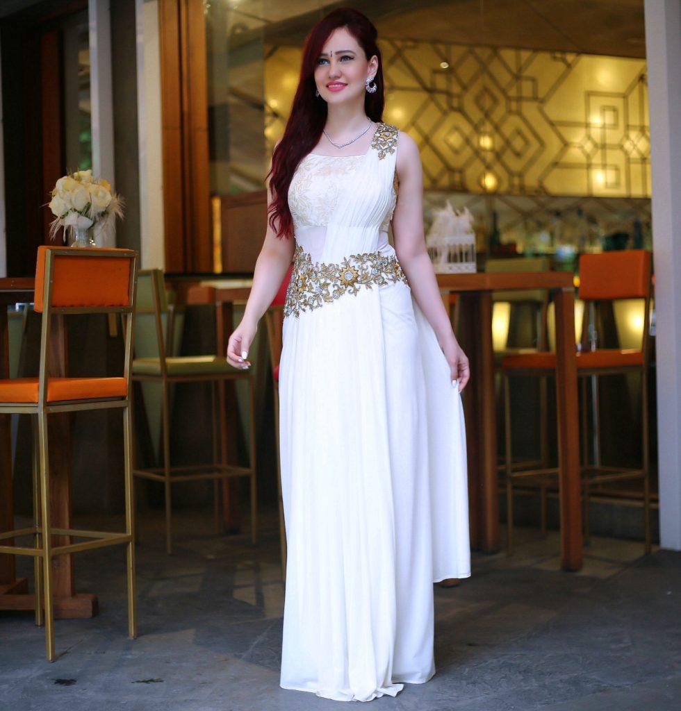 Saree Gown, Joolz Jewellery, Diamond Necklace, Diamond and Ruby Earrings, Festive Look, White Saree