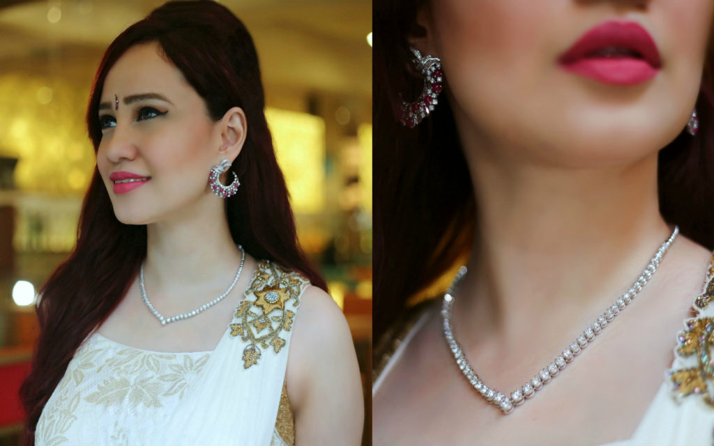 Joolz Jewellery, Diamond Necklace, Diamond and Ruby Earrings, Festive Look, White Saree