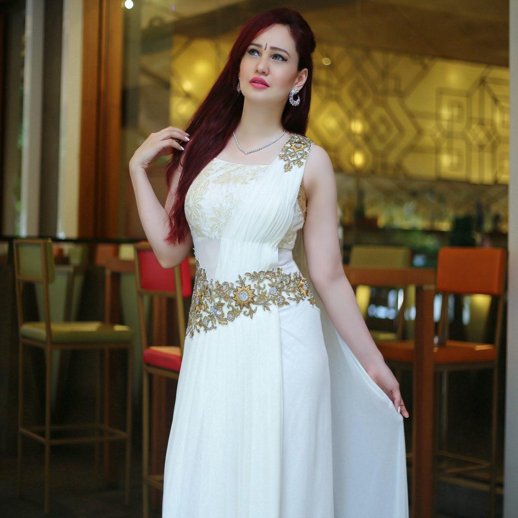 Joolz Jewellery, Diamond Necklace, Diamond and Ruby Earrings, Festive Look, White Saree