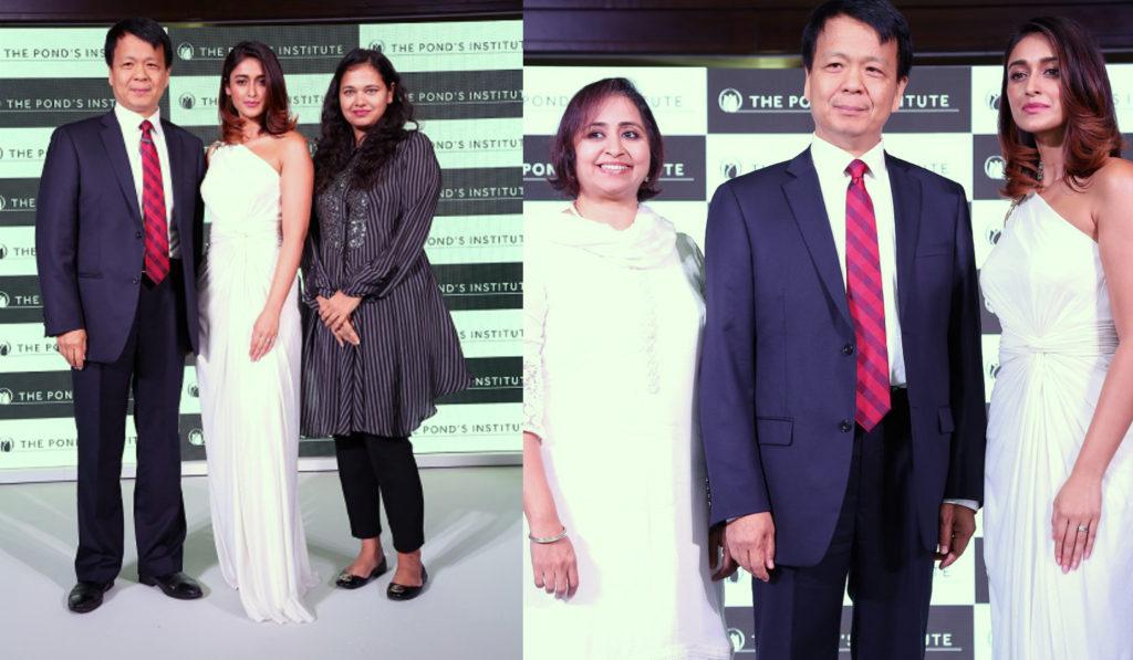 Prabha Narasimhan, Vice President Skincare – Unilever India , expert dermatologist Dr. Aparna Santhanam and Pond's brand ambassador Ileana D'cruz