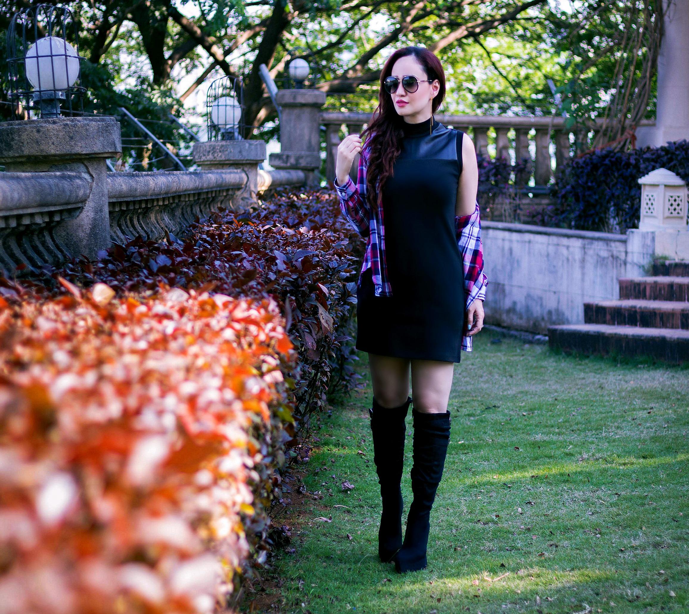 check-shirt-little-black-dress-1