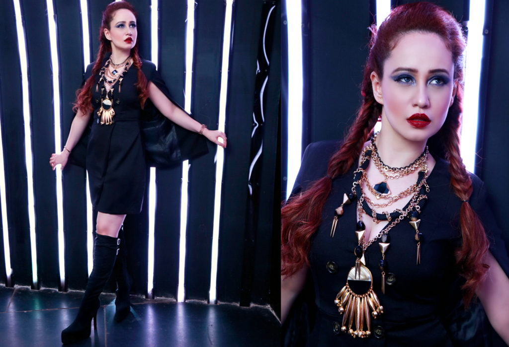 Gothic Chic Necklace, Feisty Fox For Go Bold, Shaze India, Statement Necklace, Stephanie Timmins, Black Cape Blazer Dress