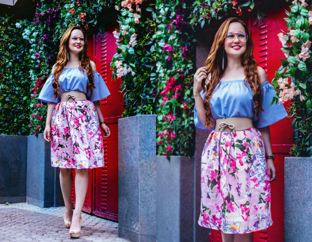 Romantic Muse,Cold Shoulder Top, Floral Midi Skirt. Myntra Haul. Stephanie Timmins