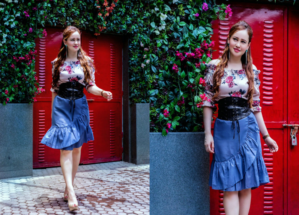 Romantic Muse, Floral off-shoulder top, ruffle skirt, corset belt, Myntra haul, Stephanie Timmins