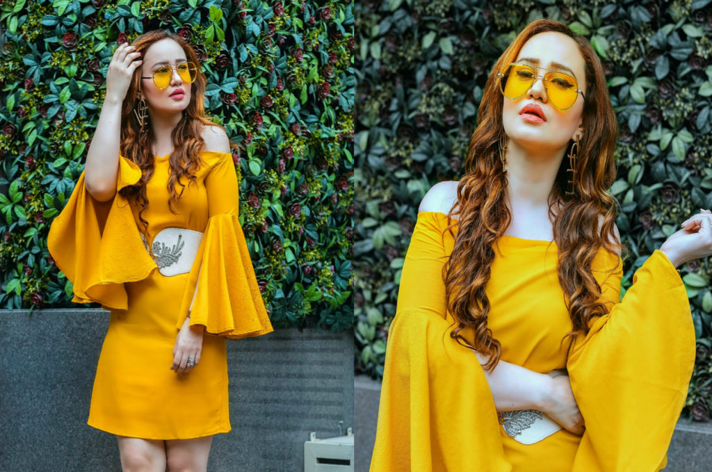 Romantic Muse.Mustard Yellow bell-sleeve dress, Myntra haul, yellow sunglasses, Stephanie Timmins
