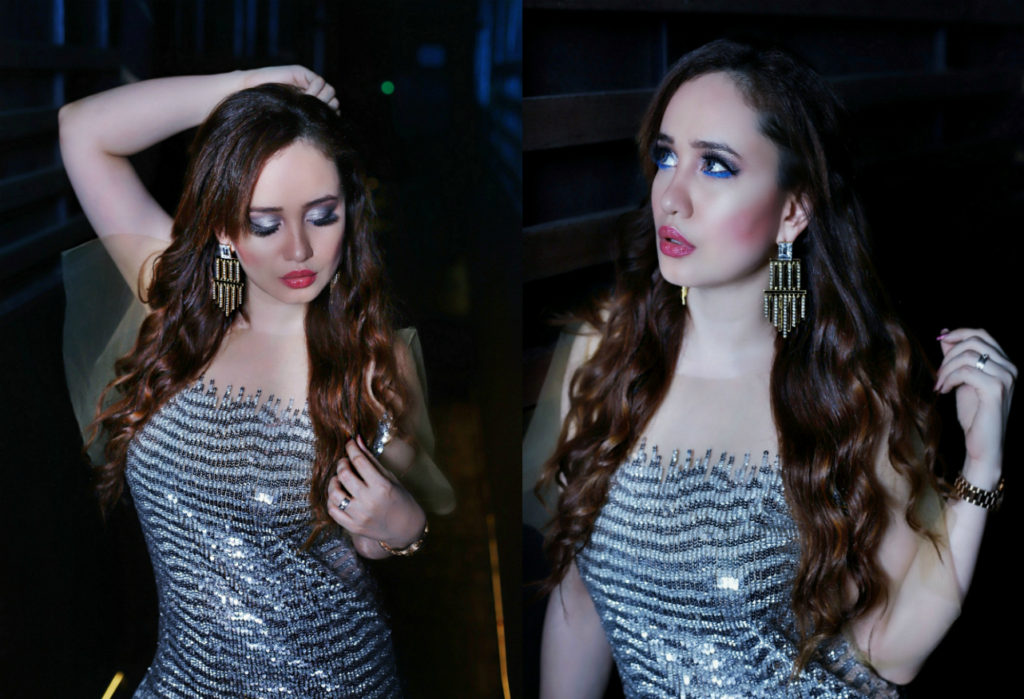 Silver Sequin Dress, party dress 2017, Nandita Mahtani ,Stephanie Timmins, Swarovski Confluence Earrings